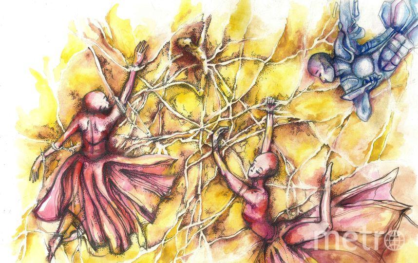 Картина «Тромбоз», где балерины – это эритроциты, воин – лейкоциты, а распадающаяся фигура на заднем плане – тромбоциты. Фото предоставлены Яной Венгловской