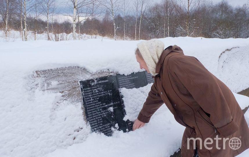 """Татьяна Гнатюк возле мемориала,  построенного в память о расстрелянных в ноябре 1941 года евреях. Фото Алена Бобрович, """"Metro"""""""