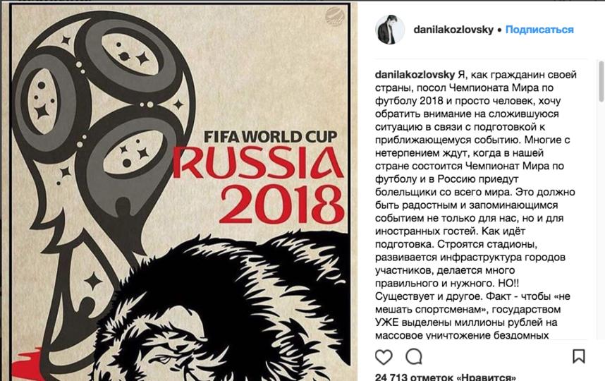 Козловский призвал спасти животных. Фото instagram.com/danilakozlovsky