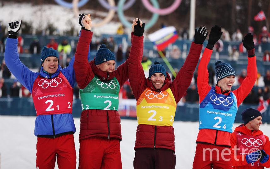 Мужская сборная по лыжам - Андрей Ларьков, Алесандр Большунов, Алексей Червоткин, Денис Спицов. Фото Getty