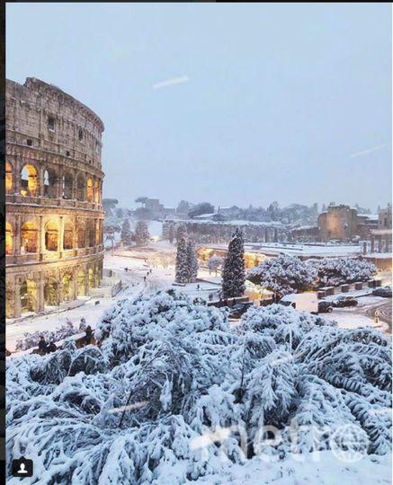 Колизей в Риме тоже в снегу. Фото https://www.instagram.com/p/BfpmUkEhN80/?taken-at=31499759