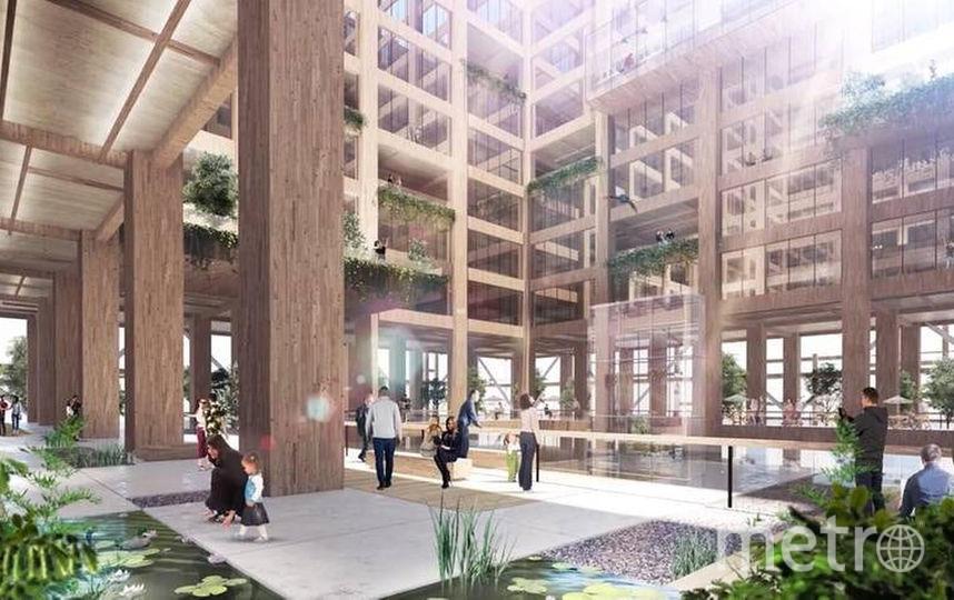 Таким будет холл нового здания. Фото Sumitomo Forestry