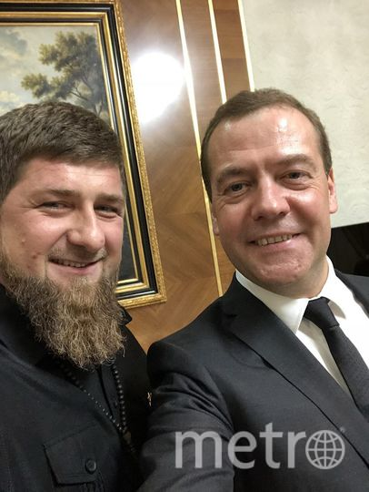 Селфи Кадырова и Медведева. Фото https://web.telegram.org/#/im?p=@IgorAlbin