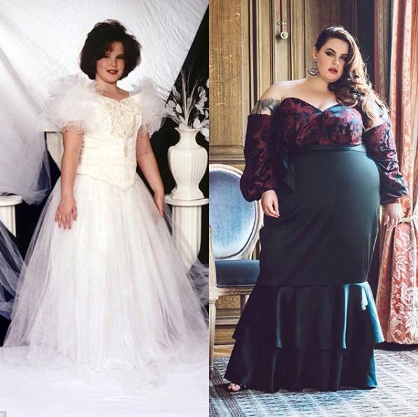 Тесс Холлидей в детстве и сейчас. Фото Скриншот Instagram: tessholliday