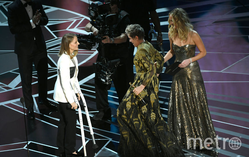 Джоди Фостер, Фрэнсис МакДорманд и Дженнифер Лоуренс на вручении премии Оскар. Фото Getty