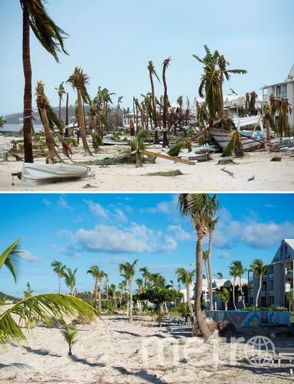 Фотография вверху: Сен-Мартен сразу после обрушения стихии. Фотография внизу – так, как есть сейчас. Фото AFP