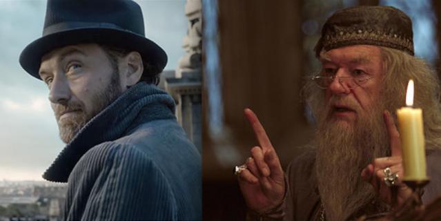 Джуд Лоу и Майкл Гэмбон в роли Альбуса Дамблдора.