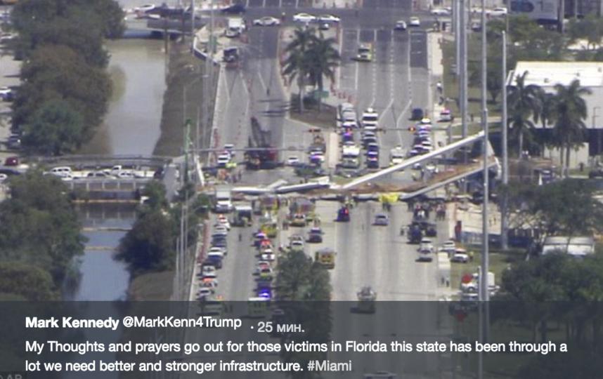 В Майами рухнул пешеходный мост. Фото скриншот twitter.com/MarkKenn4Trump