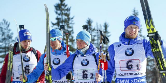 Сборная России по биатлону выиграла бронзу в мужской эстафете