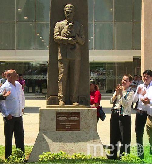 Так выглядит новый памятник Кнорозову в Мексике. Фото скриншот телеканала НТВ