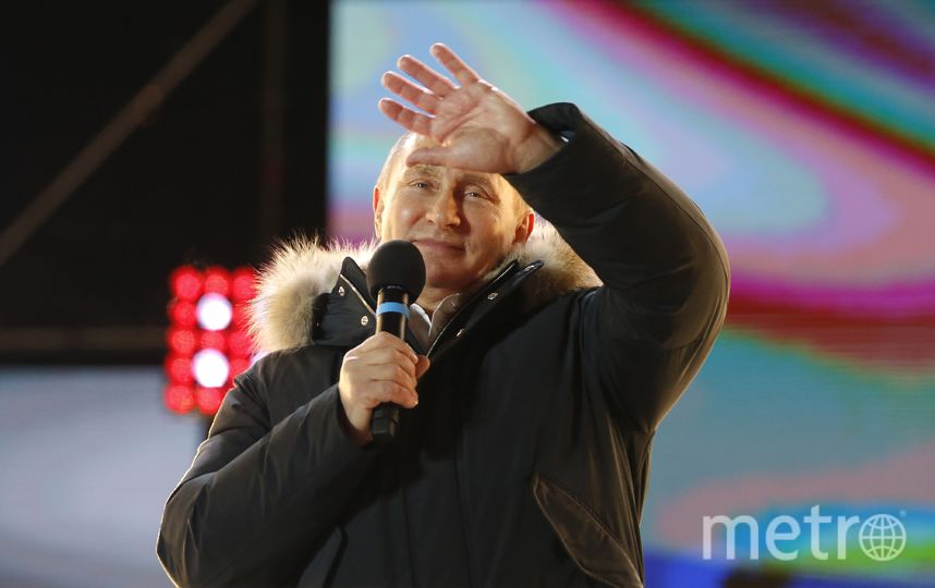 Путин на митинге-концерте в Москве поблагодарил за поддержку на выборах. Фото AFP