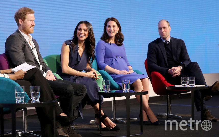 Принц Гарри, Меган Маркл, Кейт Миддлтон и принц Уильям. Фото Getty