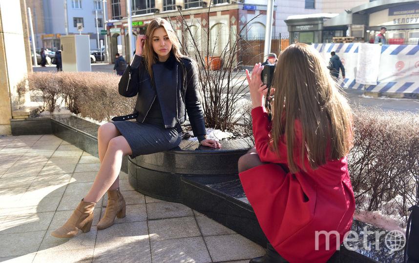 """Такую весеннюю фотосессию вчера можно было увидеть около метро """"Белорусская"""". Фото Василий Кузьмичёнок, """"Metro"""""""