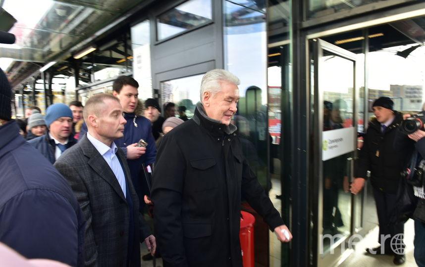 Мэр Москвы Сергей Собянин на открытии новых станций метро. Фото Василий Кузьмичёнок