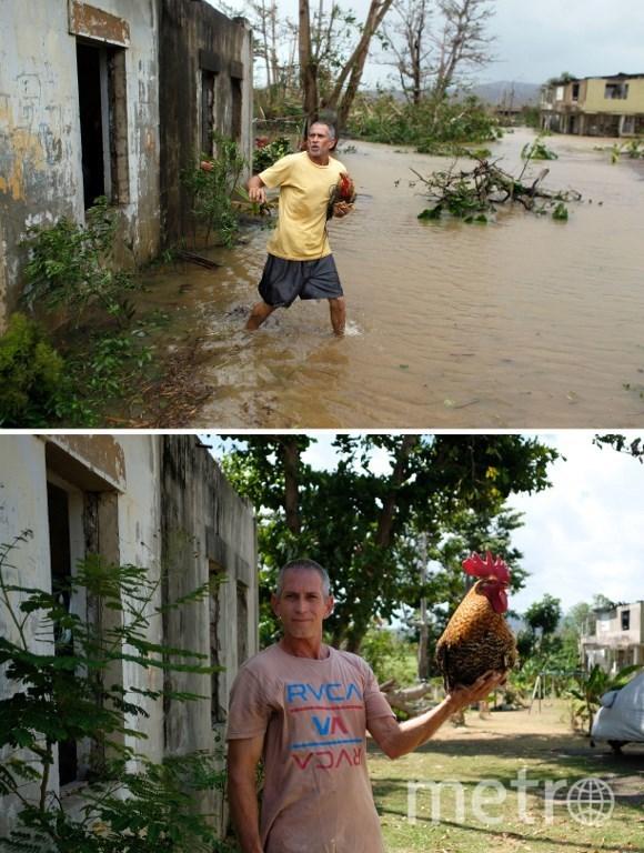 Пэурто-Рико в сентябре 2017 года и в марте 2018 года. Фото AFP