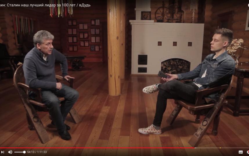 Павел Грудинин и Юрий Дудь. Фото Скриншот Youtube