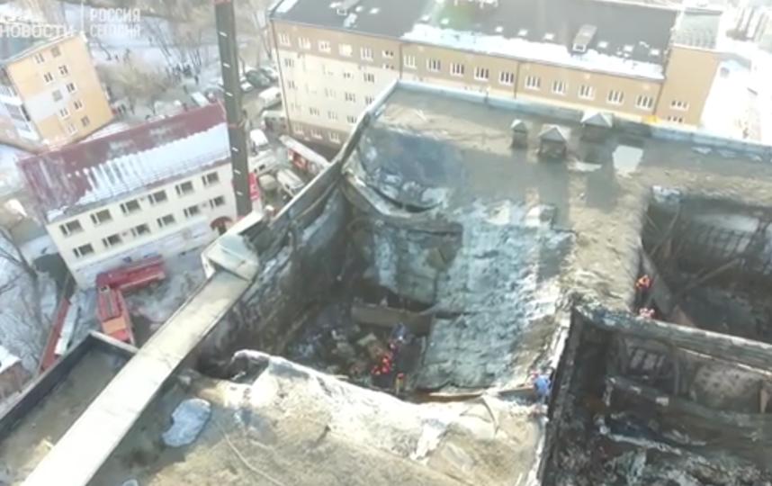 Сгореевшее здание ТРЦ в Кемерово. Фото Скриншот видео.