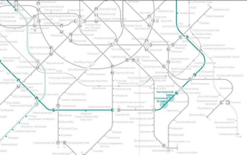 """Схема расположения станций """"Нагатинский затон"""" и """"Кленовый бульвар"""". Фото stroi.mos.ru"""