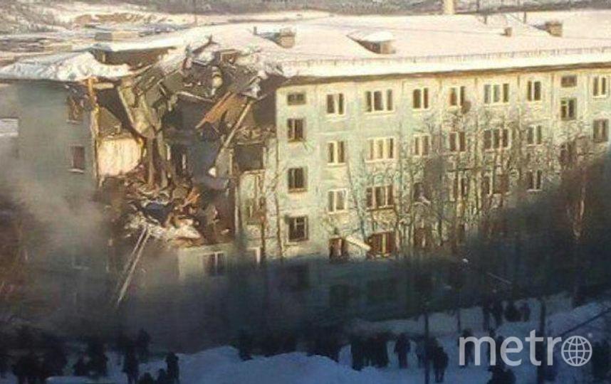 Взрыв дома в Мурманске. Фото https://web.telegram.org/#/im?p=@breakingmash