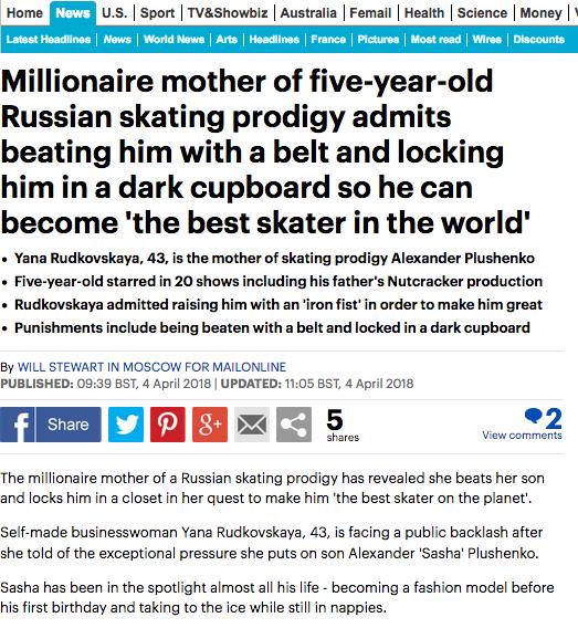 Реакция Daily mail на слова Рудковской. Фото Скриншот