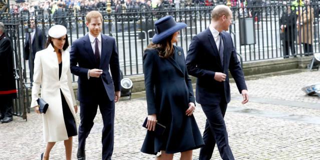 Принц Гарри, Меган Маркл, Кейт Миддлтон и принц Уильям.