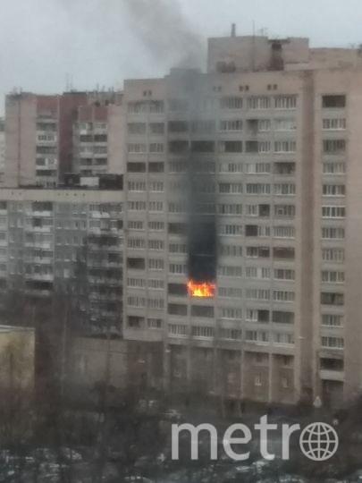 Пожар вспыхнул в квартире дома №34 по улице Есенина в Петербурге утром 10 апреля.