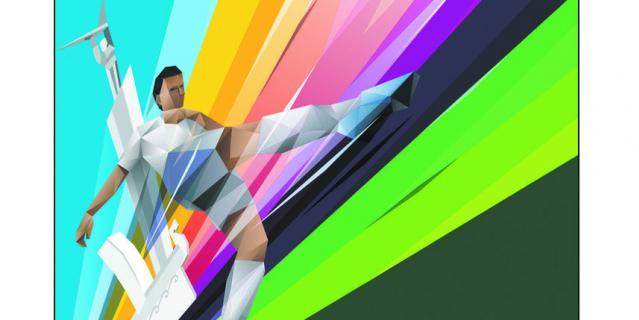 Футболист на плакате заряжен энергией, линии ведут его вверх. Плакат украшают символы Самары: монумент Славы и стела