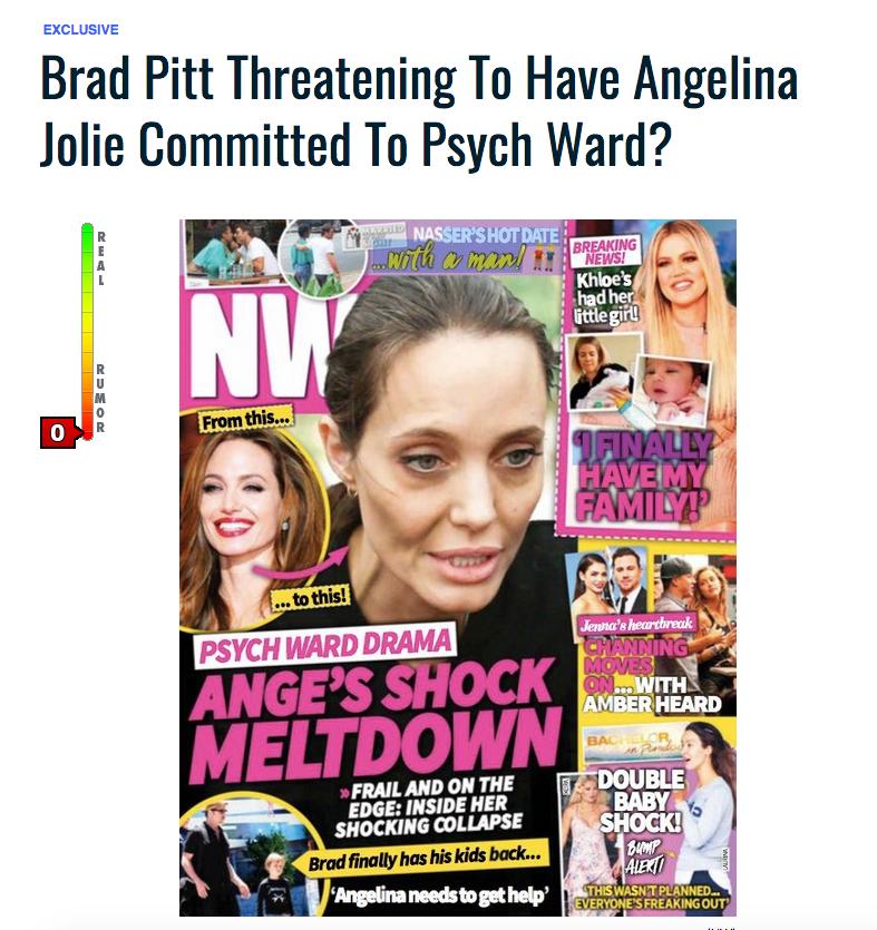 На обложку журнала с материалом о Джоли поместили фото 2016 года. Фото www.gossipcop.com