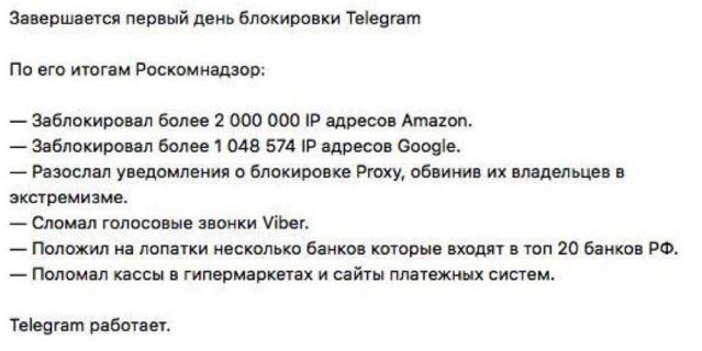 Итоги первого дня блокировки Telegram.