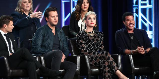 Люк Брайан, Кэти Перри и Лайонел Ричи в эфире American Idol.