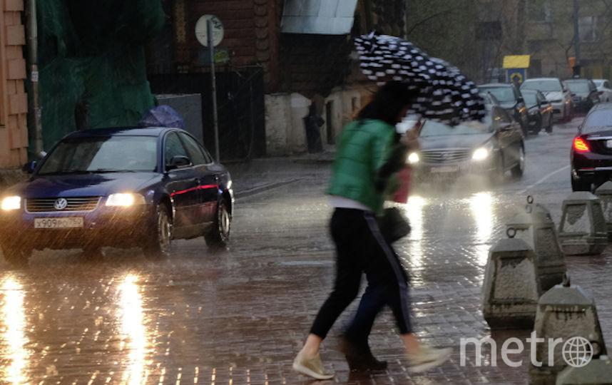 Пешеходы на улице в Москве во время сильного дождя. Фото РИА Новости