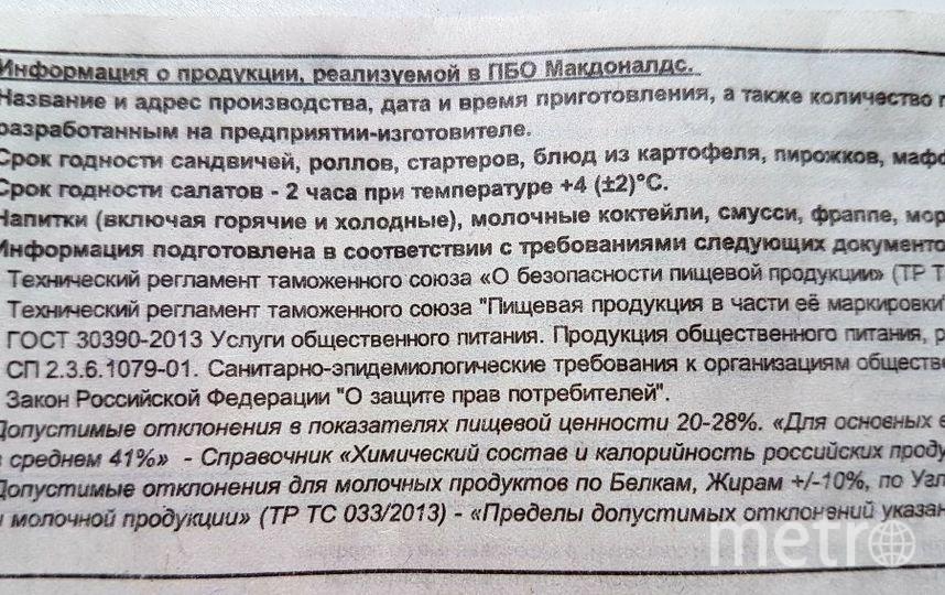 Информация о продукции, реализуемой в ПБО Макданалдс. Фото Василий Кузьмичёнок
