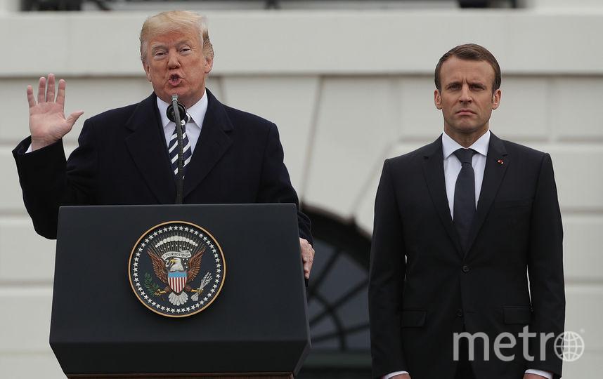 Дональд Трамп принимает с визитом президента Франции. Фото Getty