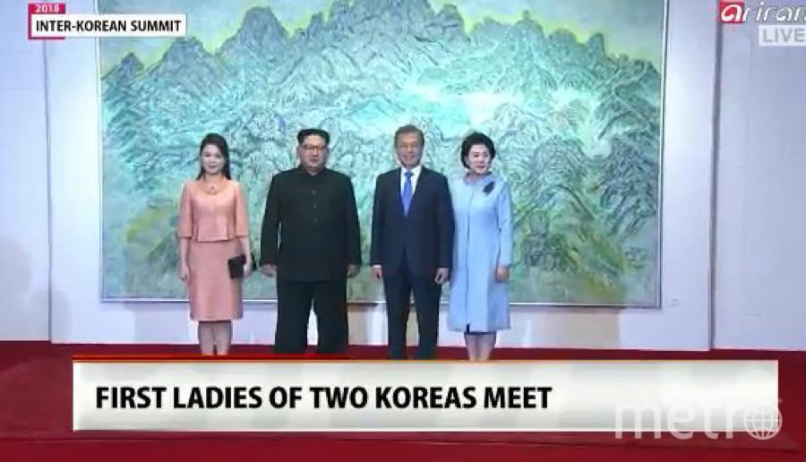 В Южную Корею Ким Чен Ын приехал с женой. Фото скрин-шот, Скриншот Youtube