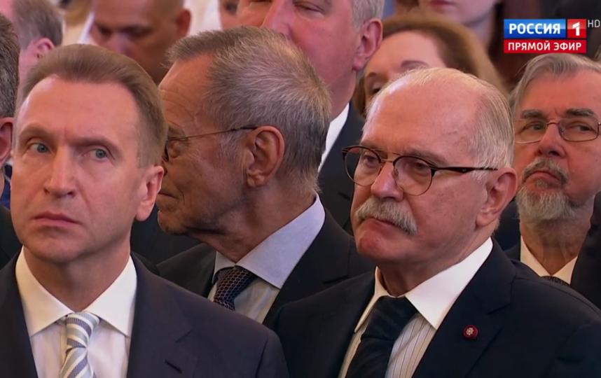 Гости инаугурации Путина. Михалков и Кончаловский рядом с Шуваловым. Фото Скриншот Youtube