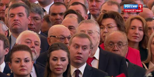 Гости инаугурации Путина. Юлия Михалкова стояла рядом с Жириновским.