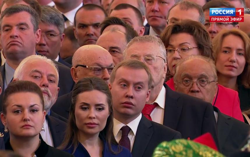 Гости инаугурации Путина. Юлия Михалкова стояла рядом с Жириновским. Фото Скриншот Youtube