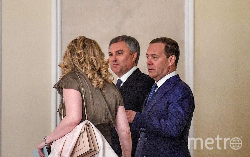 Спикер Госдумы Вячеслав Володин и исполняющий обязанности главы кабмина Дмитрий Медведев. Фото AFP