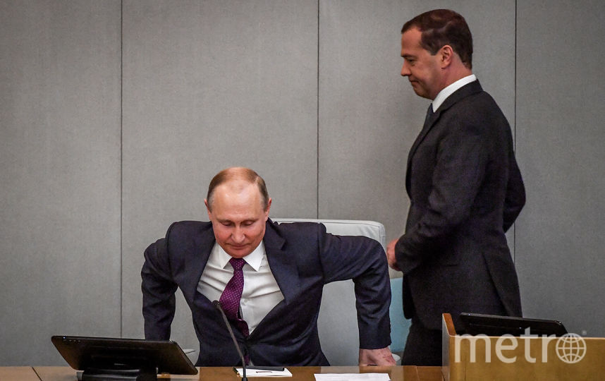 Дмитрий Медведев и Владимир Путин выступили в Госдуме. Фото AFP