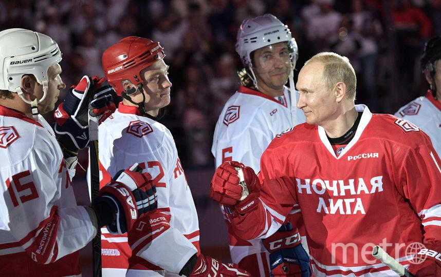 Путин в матче Ночной хоккейной лиги. Фото AFP