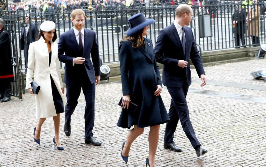 Принц Уильям с Кейт Миддлтон, принц Гарри с Меган Маркл. Фото Getty