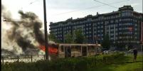 На Васильевском острове в Петербурге горел автобус: видео