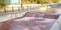 Река красного цвета в Алма-Ате попала на видео