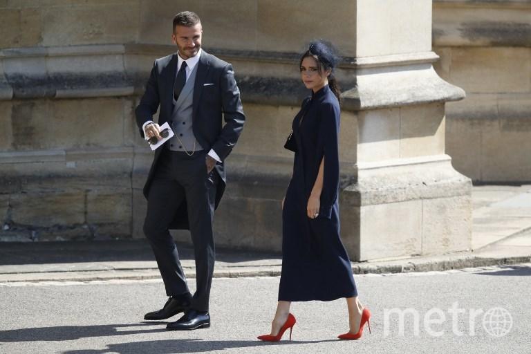 Виктория и Дэвид Бэкхемы на свадьбе Меган Маркл и принца Гарри. Фото AFP