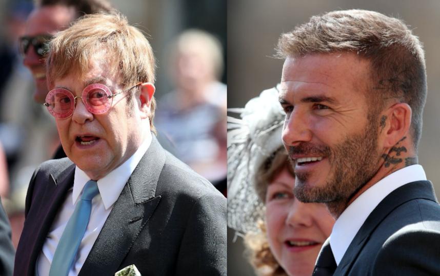 Элтон Джон и Дэвид Бекхэм на свадьбе принцп Гарри и Меган Маркл. Фото AFP