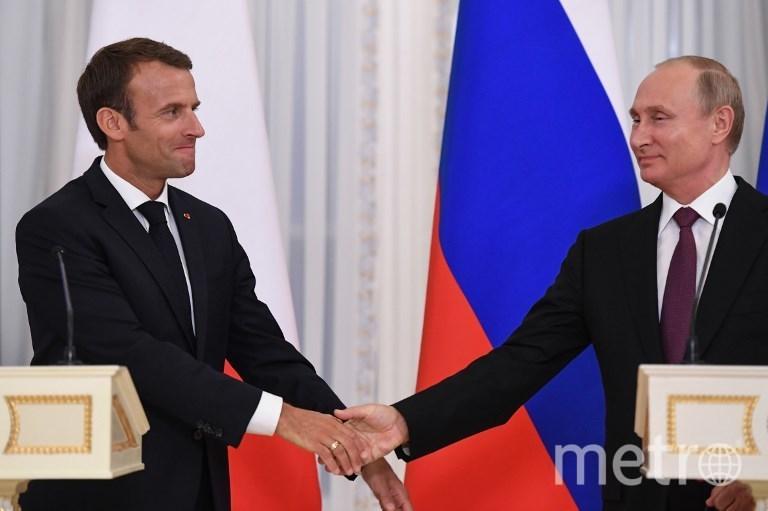 Встреча Путина и Эммануэля Макрона в Санкт-Петербурге. Фото AFP