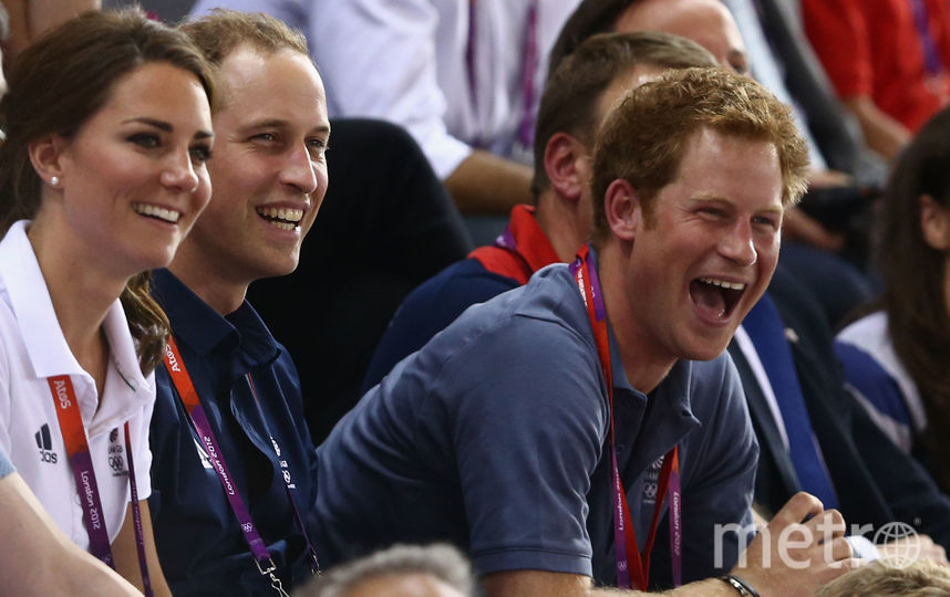 Принц Гарри, принц Уильям и Кейт Миддлтон. Фото Getty