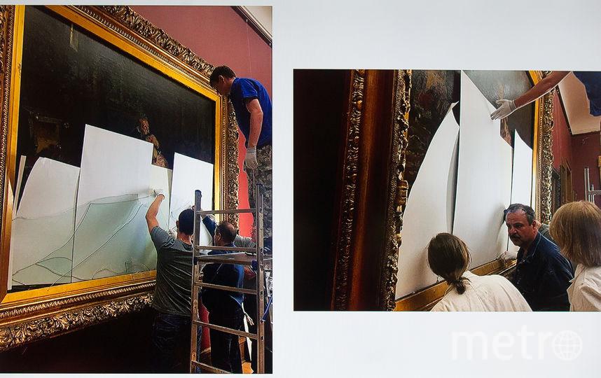 """Во время брифинга по поводу повреждения картины И. Репина """"Иван Грозный и сын его Иван 16 ноября 1581 года"""" в Москве. Фото Василий Кузьмичёнок"""