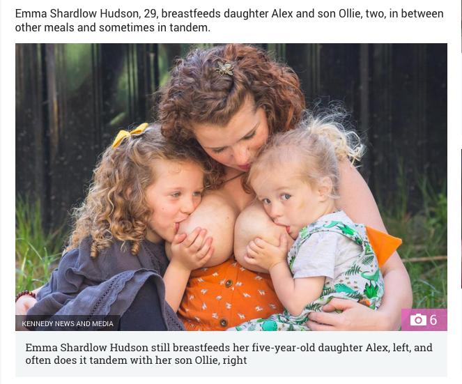 Эмма Шэрдлоу Хадсон продолжает кормить грудью свою пятилетнюю дочь и двухлетнего сына. Фото Скриншот: www.thesun.co.uk