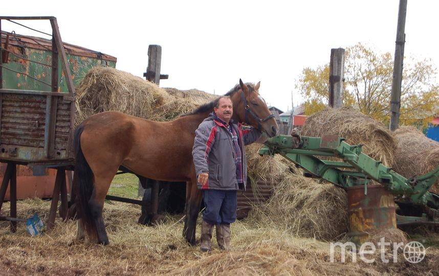 """Сено, в отличие от бензина, можно изготовить самостоятельно. Михаил Пучковский со своим транспортом. Фото предоставлено агентством """"КАМ-24"""""""